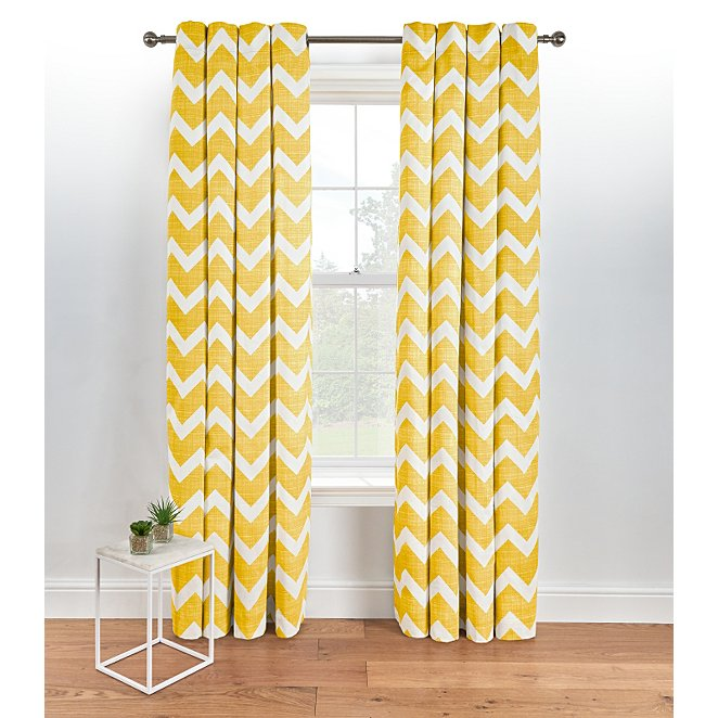 Chevron Eyelet Curtains Yellow Reset