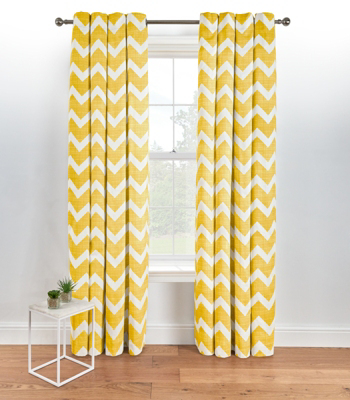 Beautiful Chevron Eyelet Curtains   Yellow