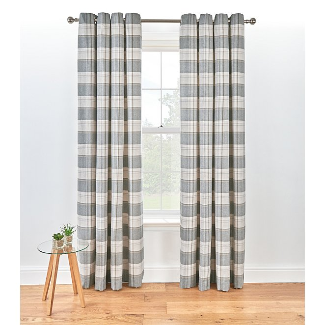 Check Woven Lined Curtains Charcoal