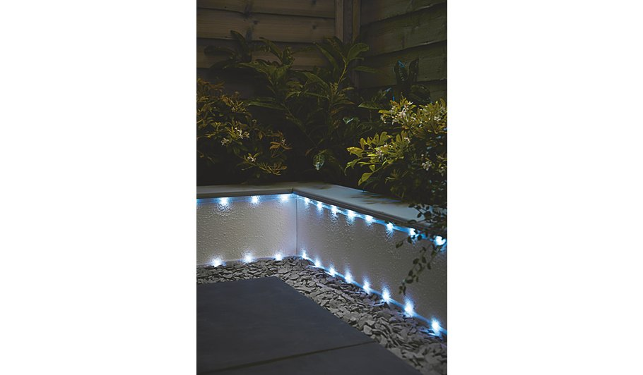 White solar powered rope light home garden george white solar powered rope light mozeypictures Image collections