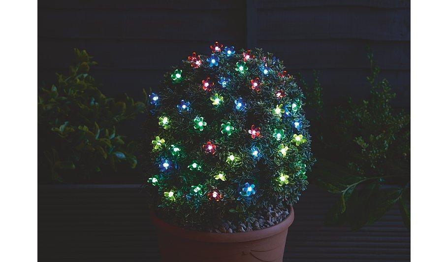 Multi Coloured Solar Powered Flower Lights 50 Leds Home Garden George