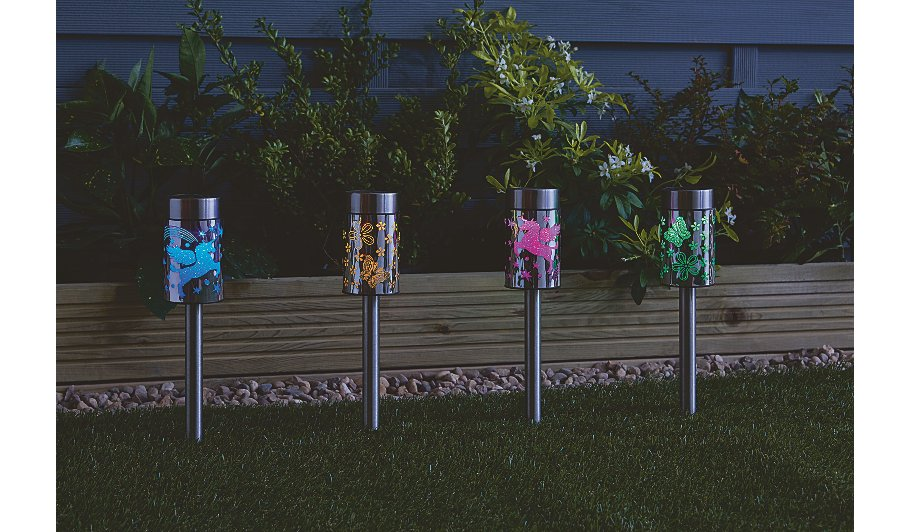 unicorn and butterfly solar powered lights set of 4. Black Bedroom Furniture Sets. Home Design Ideas