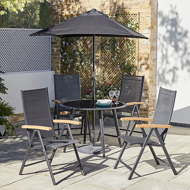 Noir 6 Piece Recliner Garden Patio Set Outdoor Garden George