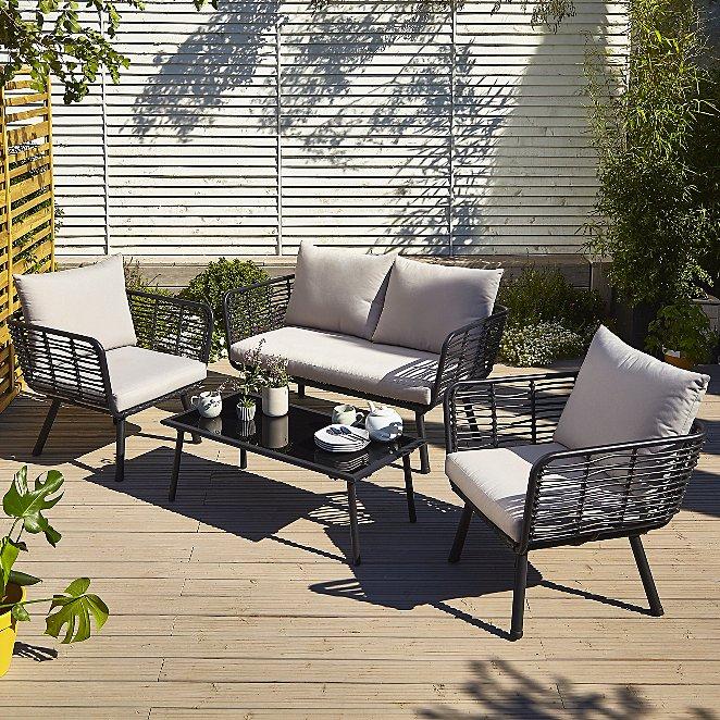 Pleasing Novaro 4 Piece Garden Sofa Set Machost Co Dining Chair Design Ideas Machostcouk