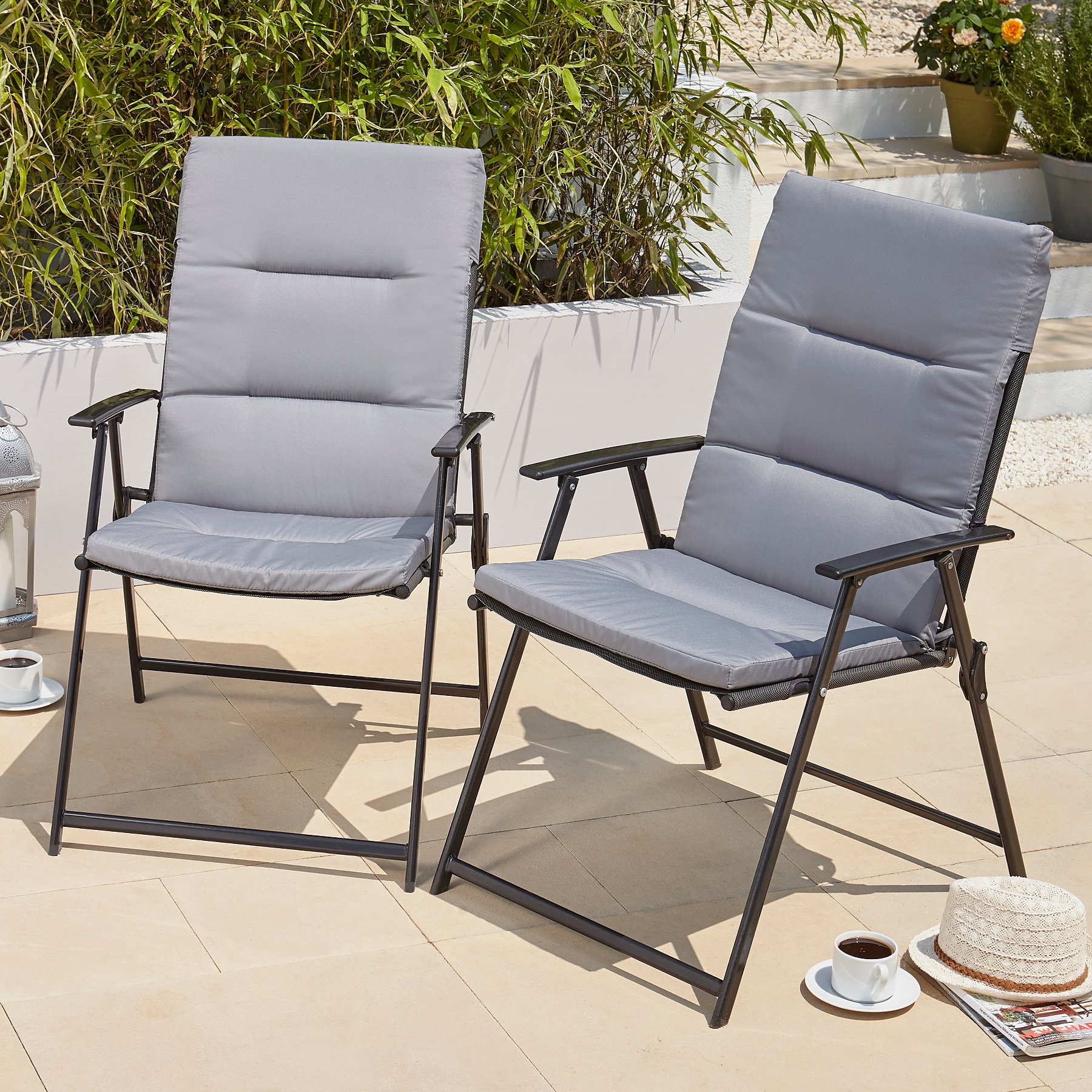 Charcoal Garden Seat Cushions 2 Pack