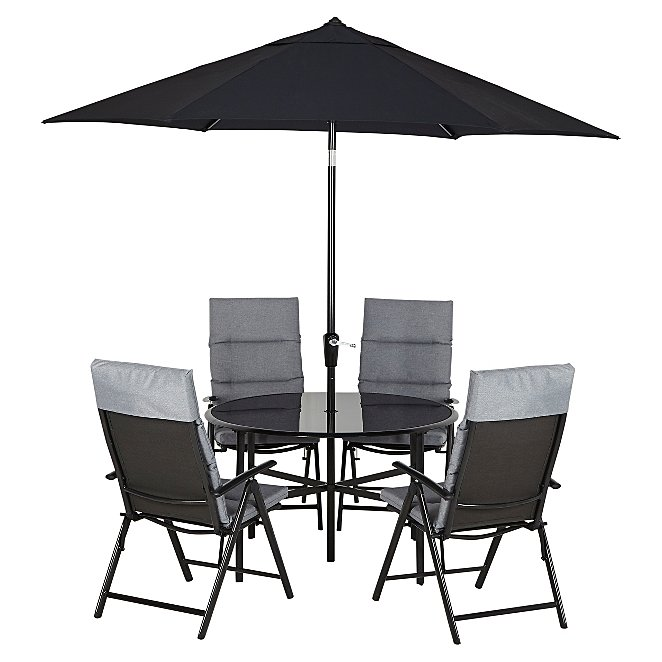 Haversham Reclining 6 Piece Patio Set Charcoal Reset