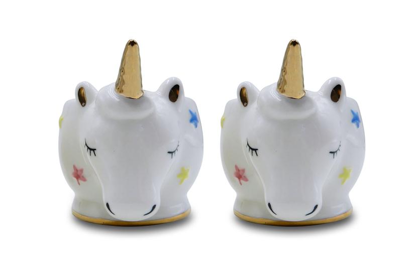 Cute Novelty Ceramic Rainbow Unicorns Egg Cup Gift Boxed Breakfast