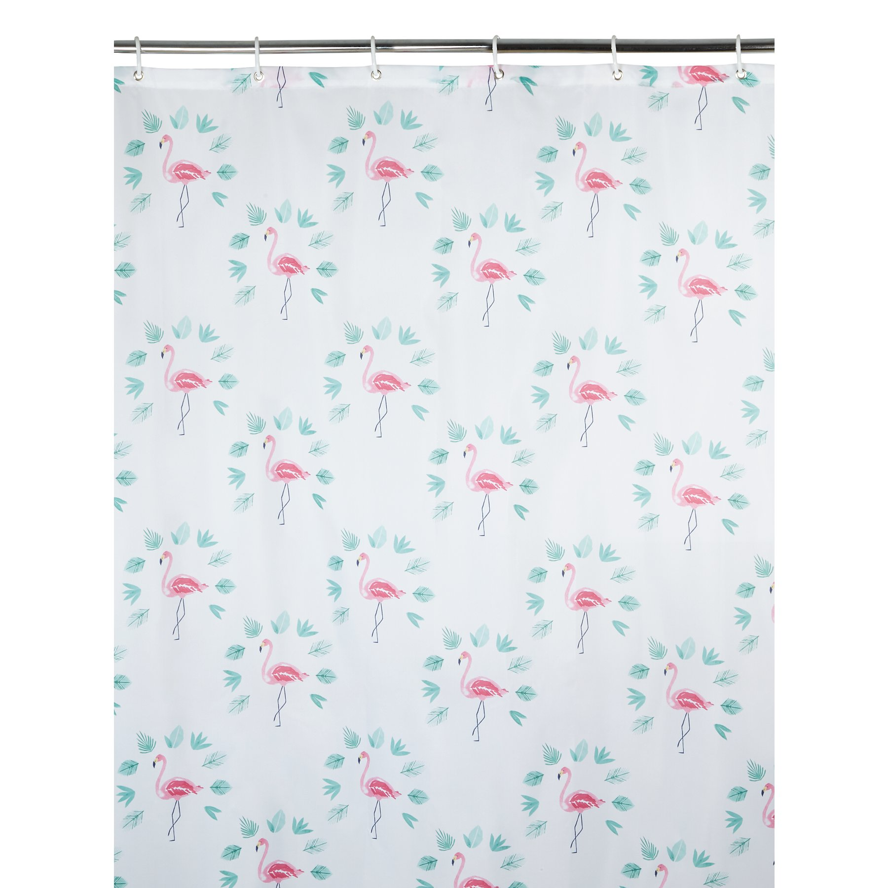 Flamingo Palm Print Shower Curtain