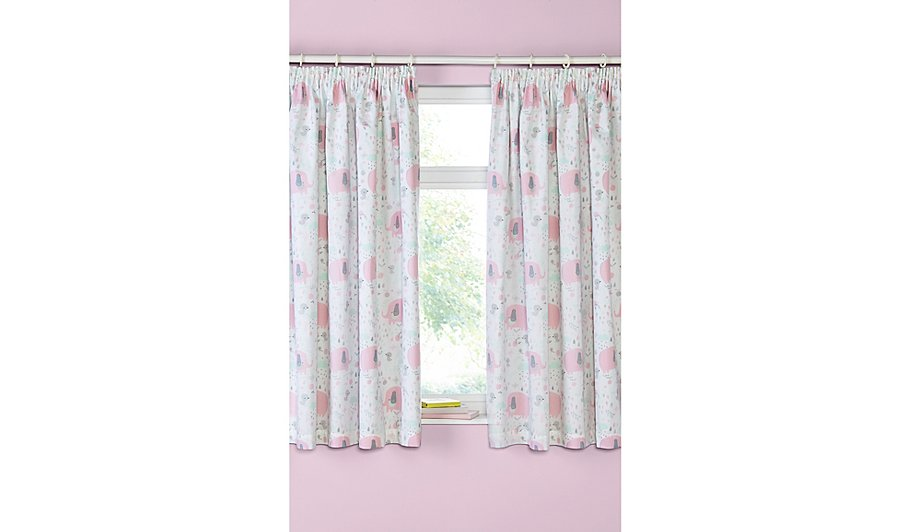 Pink Elephant Print Blackout Curtains