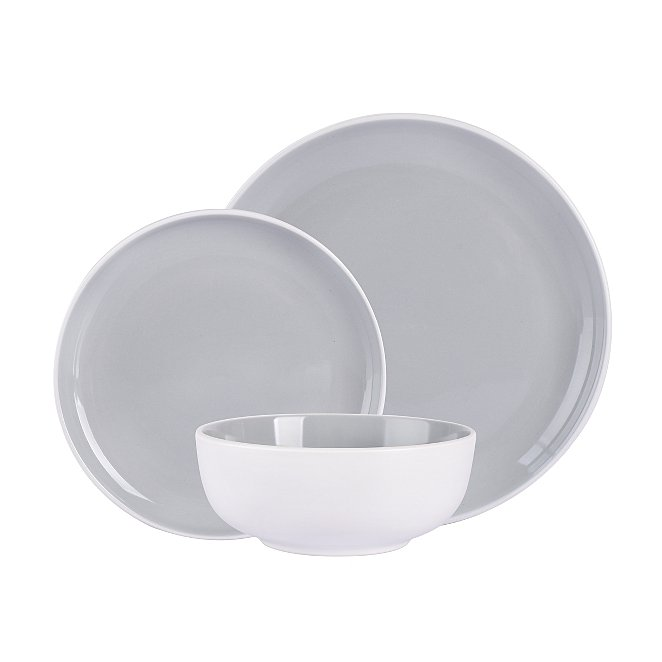 Grey Two Tone 12 Piece Dinner Set Home George