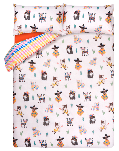 Fiesta Cat Print Reversible Duvet Cover Home Amp Garden