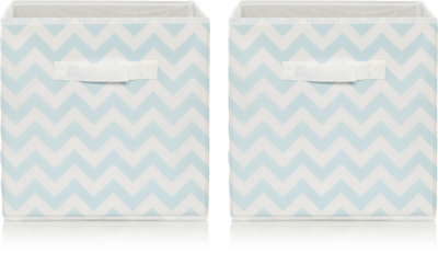 Blue Chevron Striped Storage Boxes - Set of 2