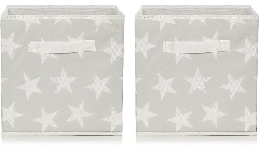 grey star print storage boxes set of 2 home garden george