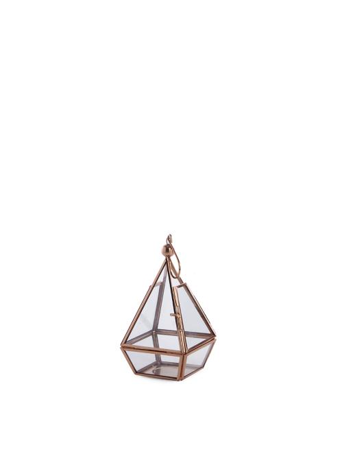 Copper Toned Glass Terrarium Lantern Home Garden George