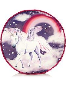 96c0a52cb1e Round Unicorn Print Pom-pom Trim Mini Cushion