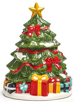 Green Christmas Tree Cookie Jar