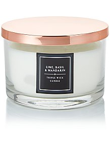 Lime Basil And Mandarin Scented Multiwick Candle With Lid