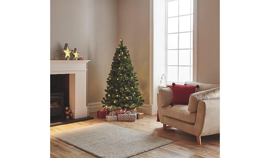 pre lit led pinecone christmas tree 6 ft