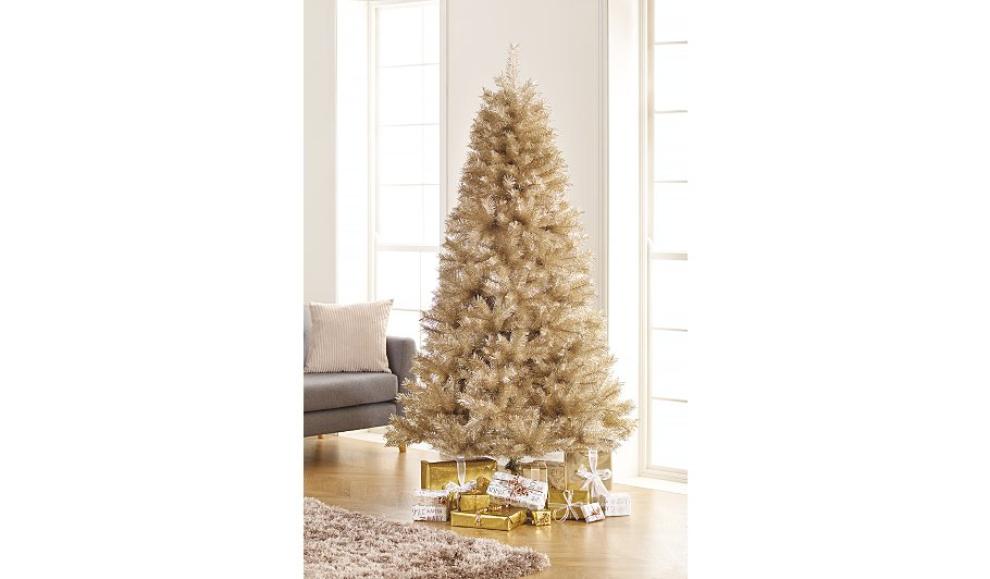 7ft champagne tinsel christmas tree christmas shop george