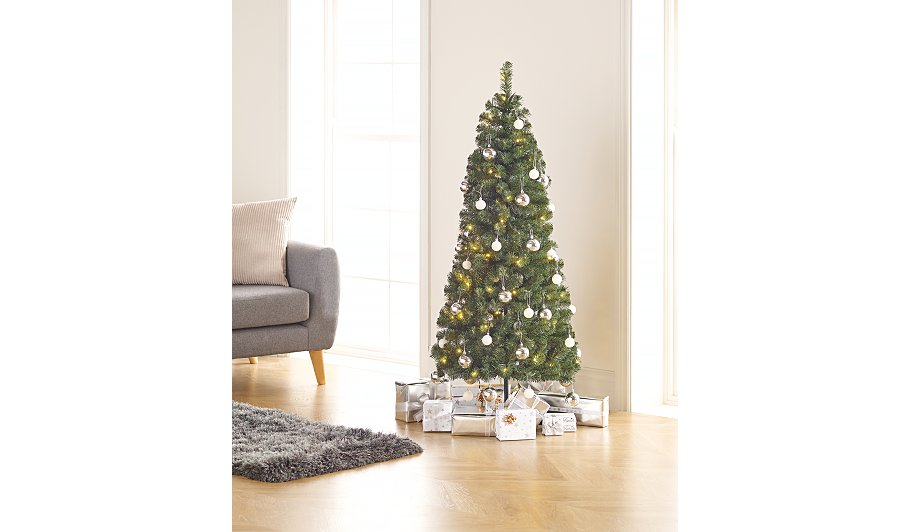 5ft pop up pre lit led christmas tree silver and white baubles