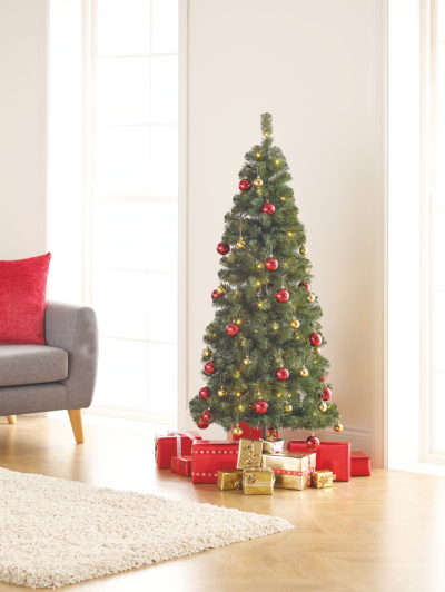 5ft Pop Up Pre Lit Led Christmas Tree Red And Gold Baubles Christmas Shop George