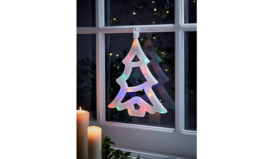 christmas tree light up window decoration - Christmas Light Up Window Decorations