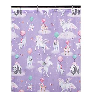 Unicorn And Panda Print Shower Curtain