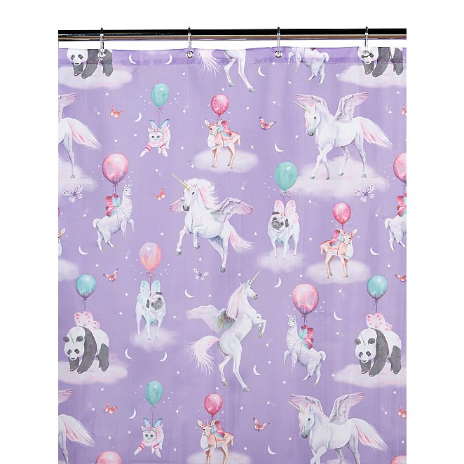 Unicorn And Panda Print Shower Curtain
