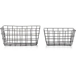 Black Wire Storage Baskets Set of 2