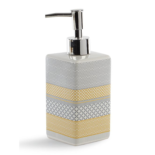 Grey And Yellow Striped Soap Dispenser Home George