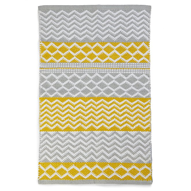 Yellow And Grey Striped Bath Mat Home