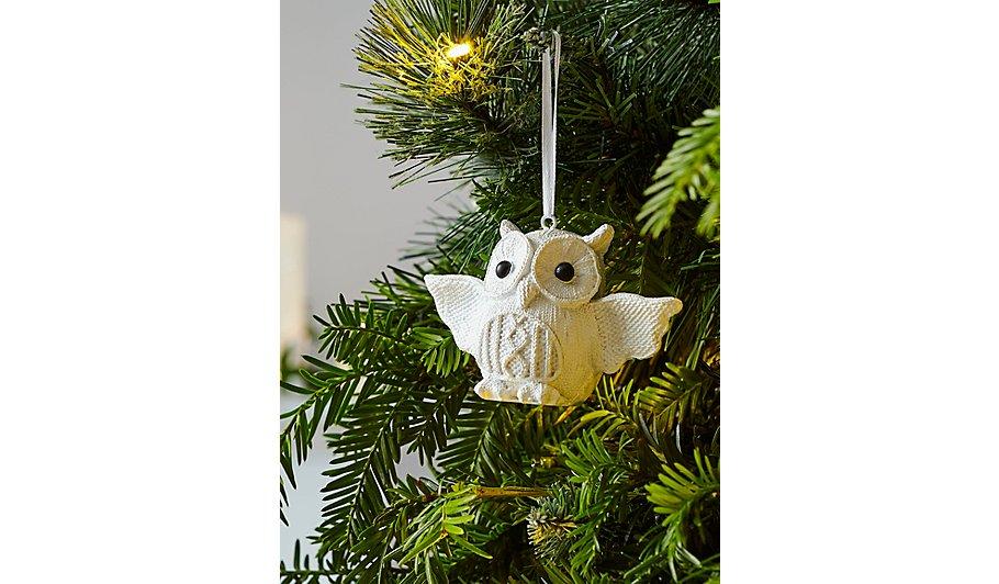 white owl christmas tree bauble