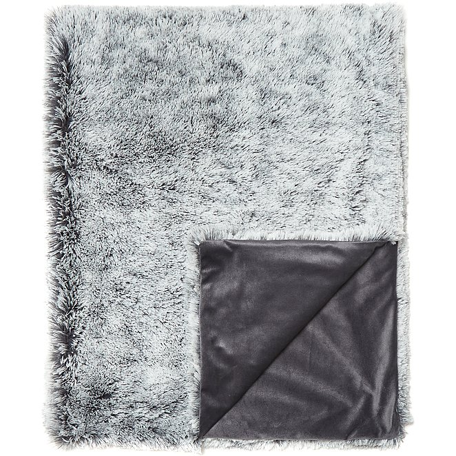 Grey Frosted Faux Fur Throw