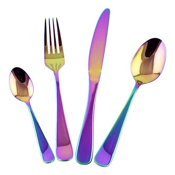 16 Piece Iridescent Cutlery Set Home George At Asda