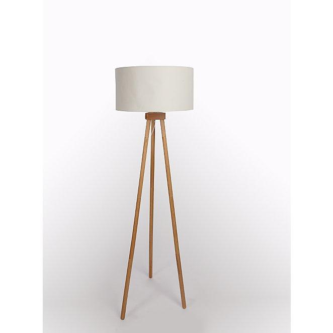 Cream Wooden Tripod Floor Lamp