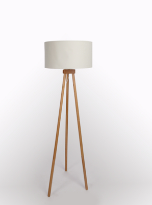 Cream Wooden Tripod Floor Lamp Home George At Asda
