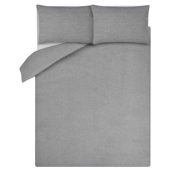 Grey Teddy Fleece Duvet Set Home, Tesco Direct Double Bedding Sets
