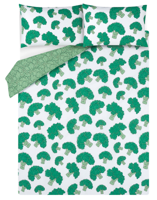 Broccoli Print Easy Care Reversible Duvet Set - King