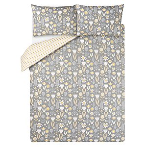 Yellow Floral Print Easy Care Duvet Set