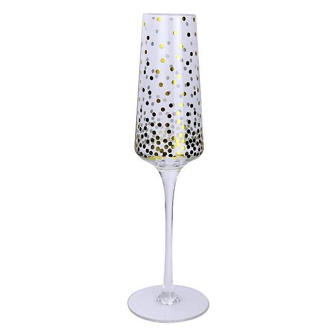 Gold Effect Polka Dot Champagne Glasses Set Of 2 Home Garden
