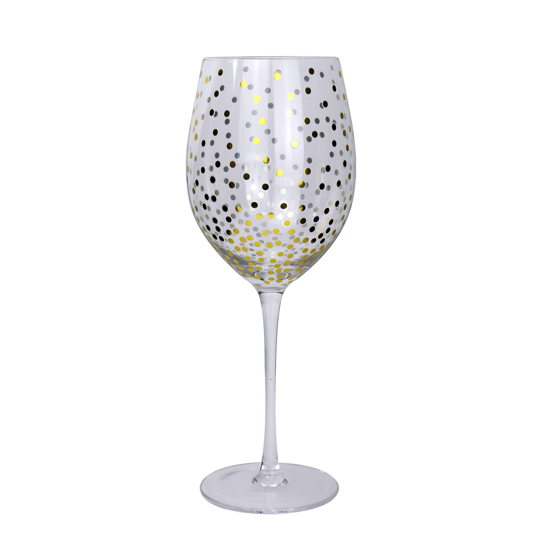 Gold Effect Polka Dot Wine Glasses Set Of 2 Home Garden George