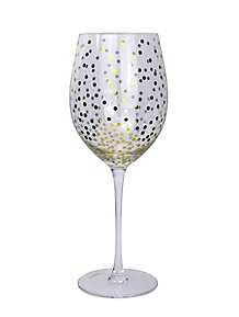 a81730bae394 Gold Effect Polka Dot Wine Glasses Set of 2