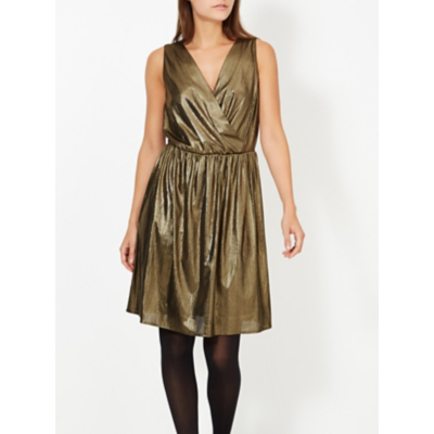 George Metallic Wrap Front Dress - Gold, Gold.