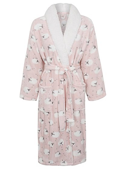 Sheep Print Fleece Dressing Gown | Women | George at ASDA