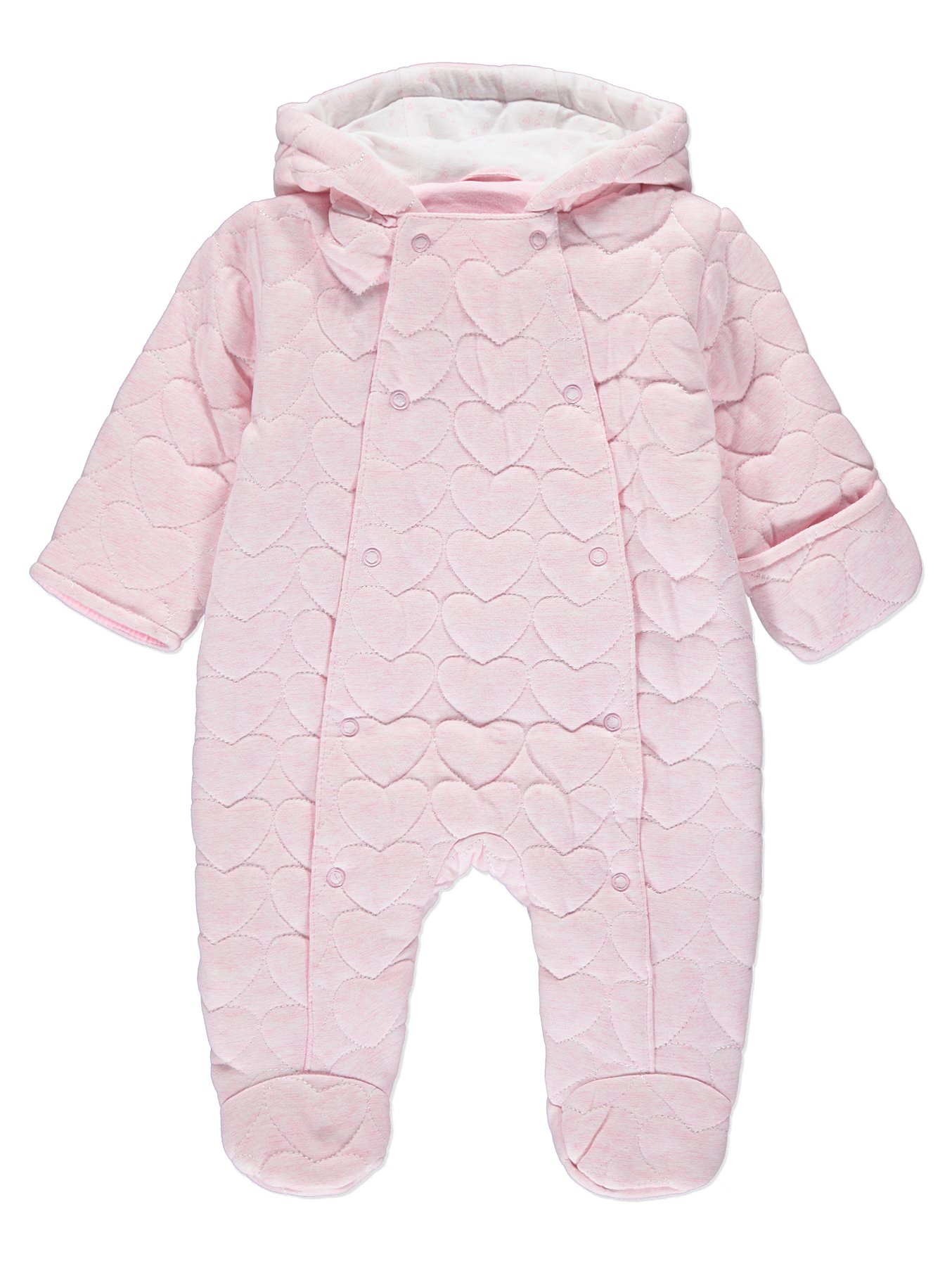 f42cb8b8f Hooded Quilted Heart Pramsuit | Baby | George at ASDA