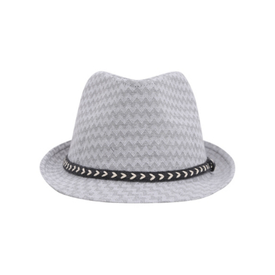 George Chevron Trilby Hat - Light Grey, Light Grey.
