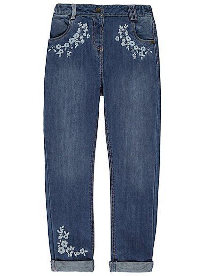 Floral embroidered jeans kids george at asda