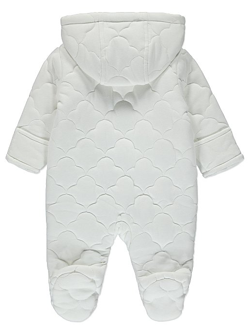 5d3ba8b71 White Cloud Print Hooded Quilted Pramsuit | Baby | George
