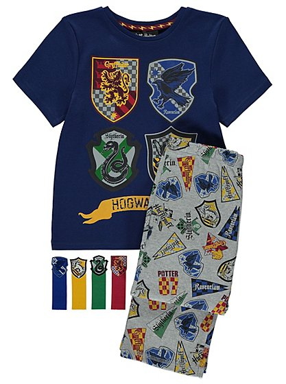 harry potter hogwarts pyjamas with bookmarks kids george. Black Bedroom Furniture Sets. Home Design Ideas