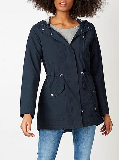 Shower Resistant Lightweight Parka Coat - Navy | Women | George at ...